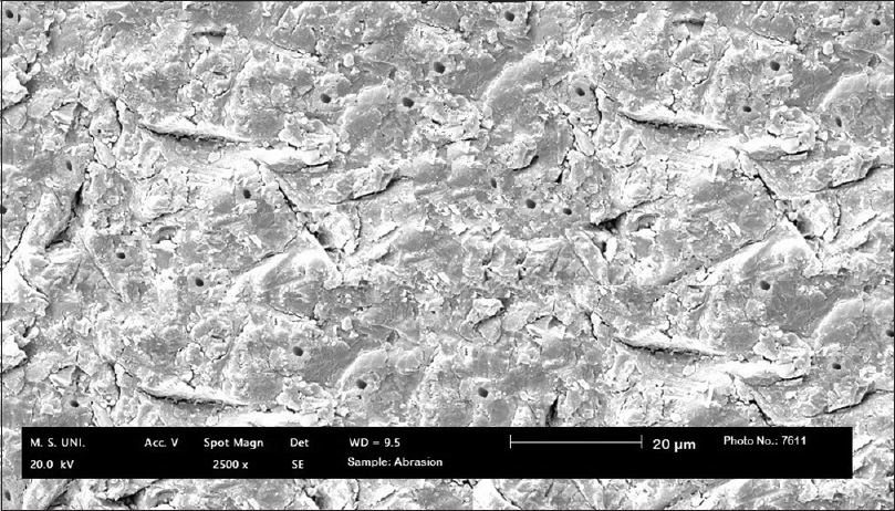 Figure 5: Scanning electron microscopic image of air-abraded dentin